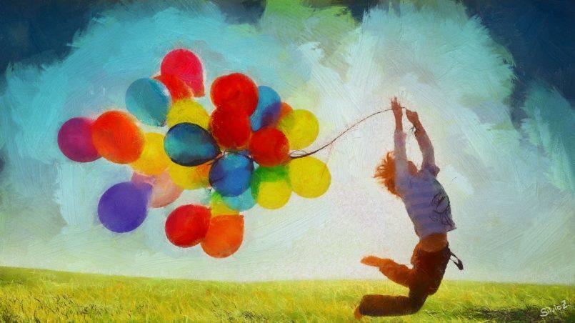 Dziecko, balony, radość